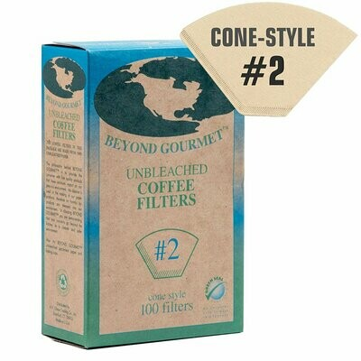 Beyond Gourmet Unbleached #2 Cone Style Coffee Filters - 100/pk