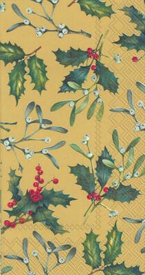 Boston International® Gold Esther Mistletoe Guest Napkins