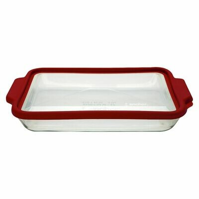 """Anchor Hocking 3 QT Truefit 9"""" x 13"""" Baking Dish with Red Lid"""