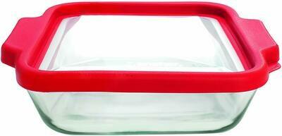 Anchor Hocking 8 in. Cake Dish + Easy Grip Handles + Truefit™ Lid