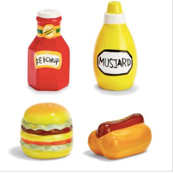 Salt & Pepper Shaker Set - 2 Designs: Hamburger/Hot Dog & Ketchup/Mustard