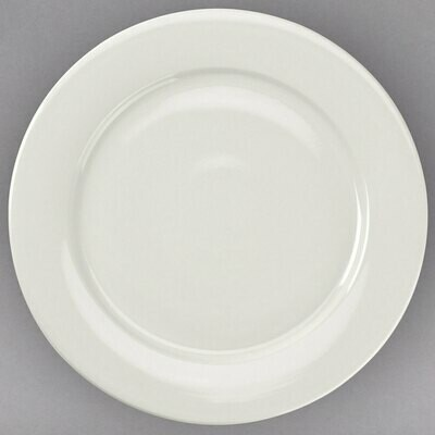 Ivory Wide Rim Rolled Edge China Dinner Plate 11 1/4