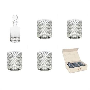 Diamond Pattern Whiskey Glass & Decanter 5-Piece Set