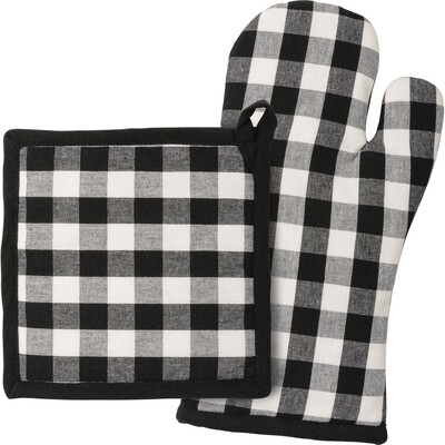 Black & White Buffalo Check Oven Mitt & Hot Pad Set