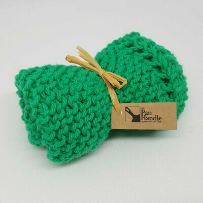 Mod Green Hand Knit Dish Cloth