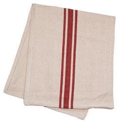 Cream & Red Stripe Grain Sack Towel