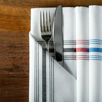 "Bistro Black Striped Cloth Napkin 18"" x 22"""