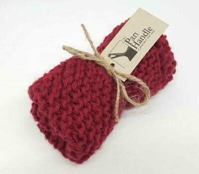Maroon Hand Knit Dish Cloth