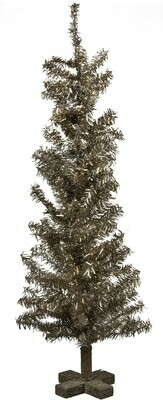Large Vintage Silver Tinsel Christmas Tree