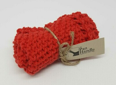 Red Hand Knit Dish Cloth