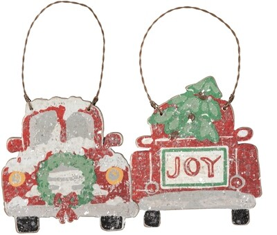 Christmas Joy Vintage Red Truck Ornament