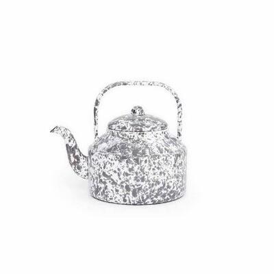 Crow Canyon 2.75 QT Grey & White Marble Splatterware Tea Kettle