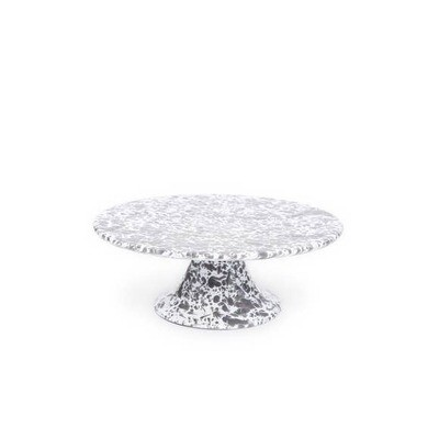 "Crow Canyon 11"" Grey & White Marble Splatterware Cake Platter"