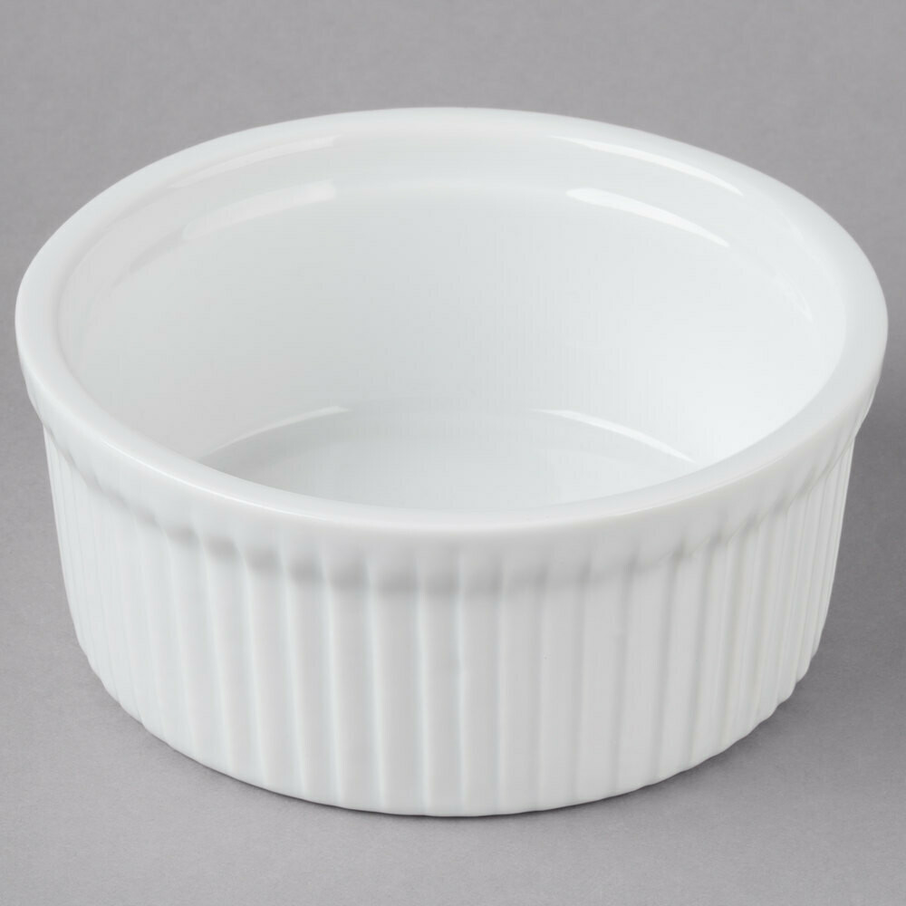 10 oz. Round Bright White Fluted Soufflé Dish