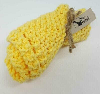 Light Yellow Hand Knit Dish Cloth