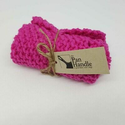 Hot Pink Hand Knit Dish Cloth