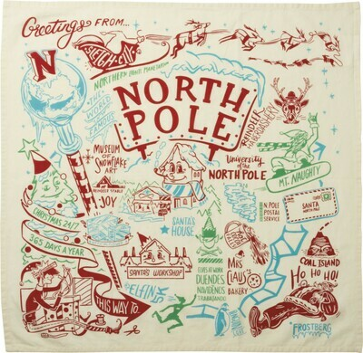 Greetings From The North Pole Printed Dish Towel