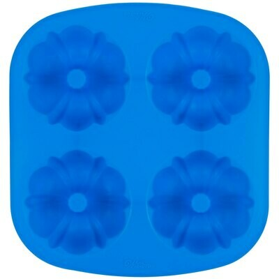 Wilton Easy-Flex Silicone 4-Compartment Mini Fluted Tube / Bundt Pan