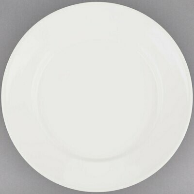 """7 1/8"""" Ivory Wide Rim Rolled Edge China Plate"""