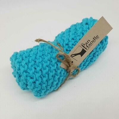 Aqua Hand Knit Dish Cloth