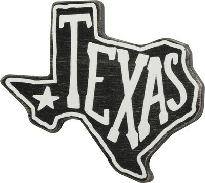Black & White State of Texas Wood Magnet