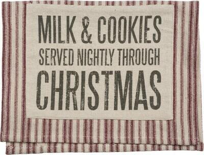Milk & Cookies Red Ticking Stripe Dish Towel