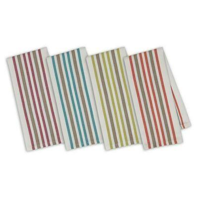 Cranberry & Grey Striped Organic Cotton Kitchen Towel