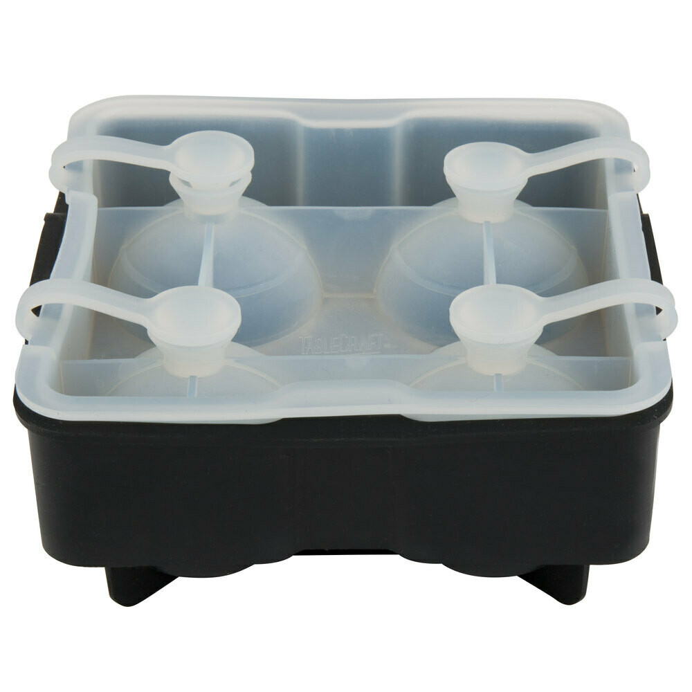 """Tablecraft® Black Silicone 4 Compartment 1.75"""" Sphere Ice / Dessert Mold with Lid"""