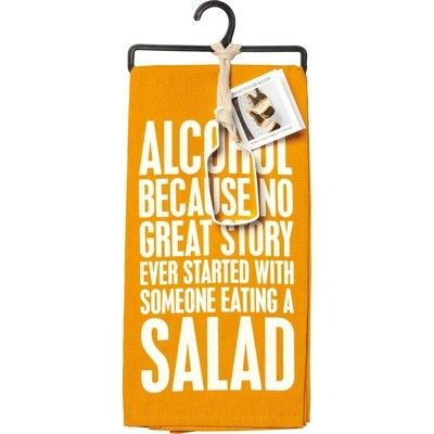 """""""Alcohol ... Because No Great Story"""" Dish Towel & Bottle Cookie Cutter Set"""