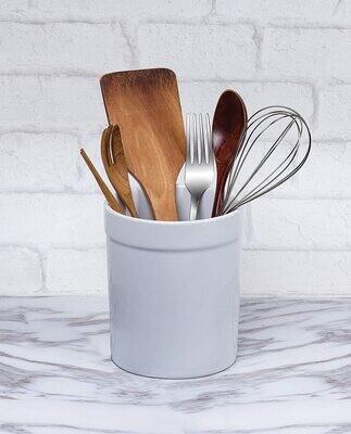Fox Run® White Stoneware Kitchen Utensil Crock / Holder