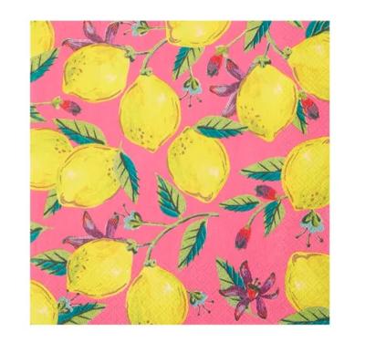 Talking Tables® Boho Pink Lemons Lunch Napkins