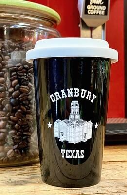 ★ Granbury Texas Ceramic Mug with Silicone Lid