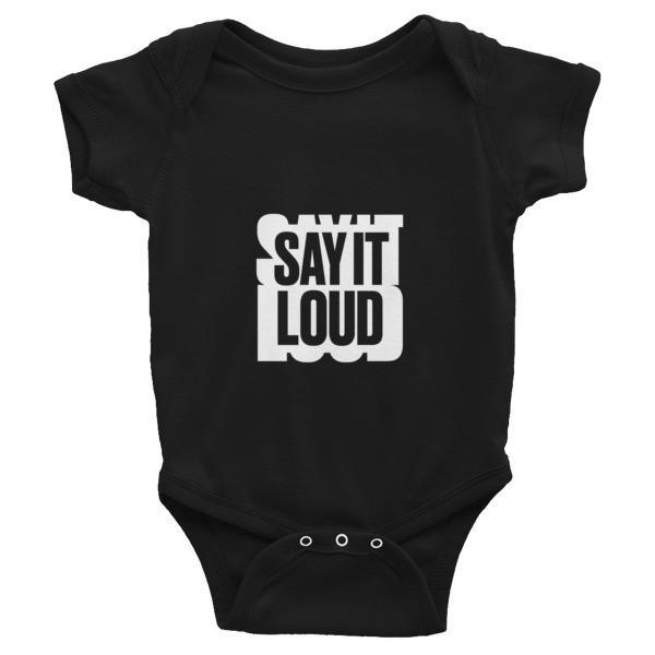 SAY IT LOUD - WHITE Logo Graphic Infant Bodysuit
