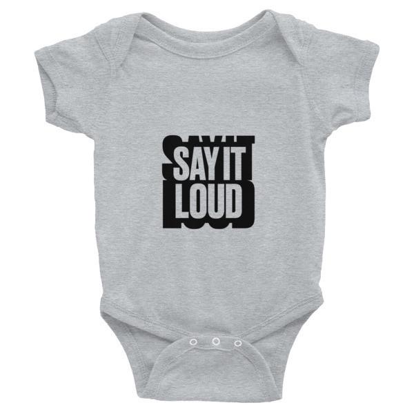 SAY IT LOUD - BLACK Logo Graphic Infant Bodysuit