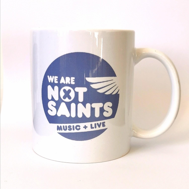 We Are Not Saints White Logo Mug
