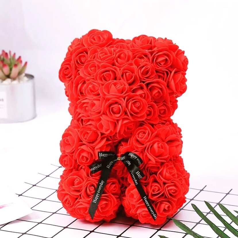 Rosette Bear Red Color