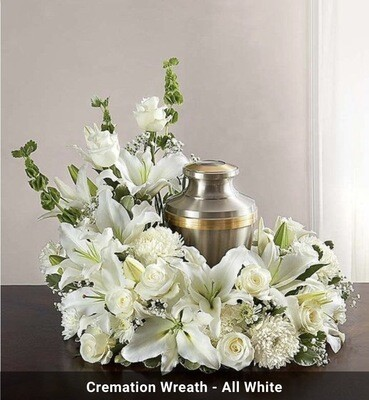 Cremation Wreath all white