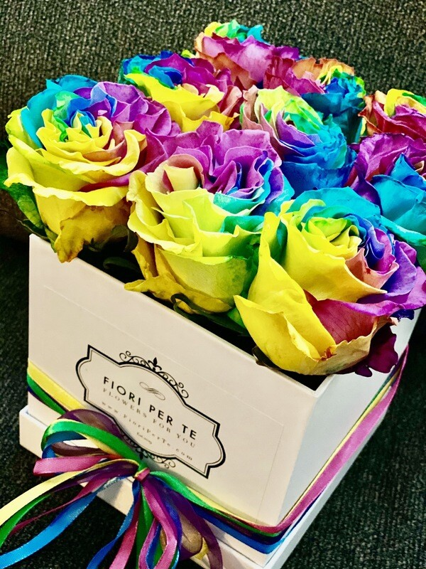 Box of Pride & Joy - 9 Rainbow Roses