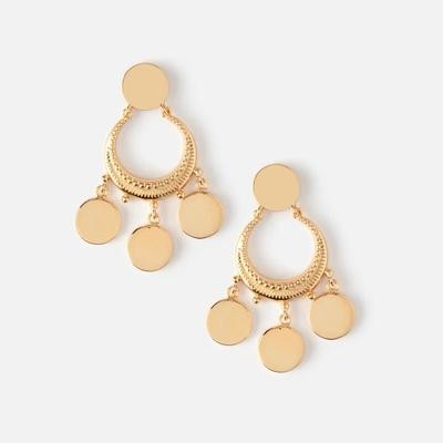 Orelia Crescent Disc Mini Chandelier Earrings