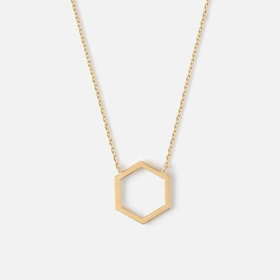 Orelia Cutout Hexagon Charm Necklace