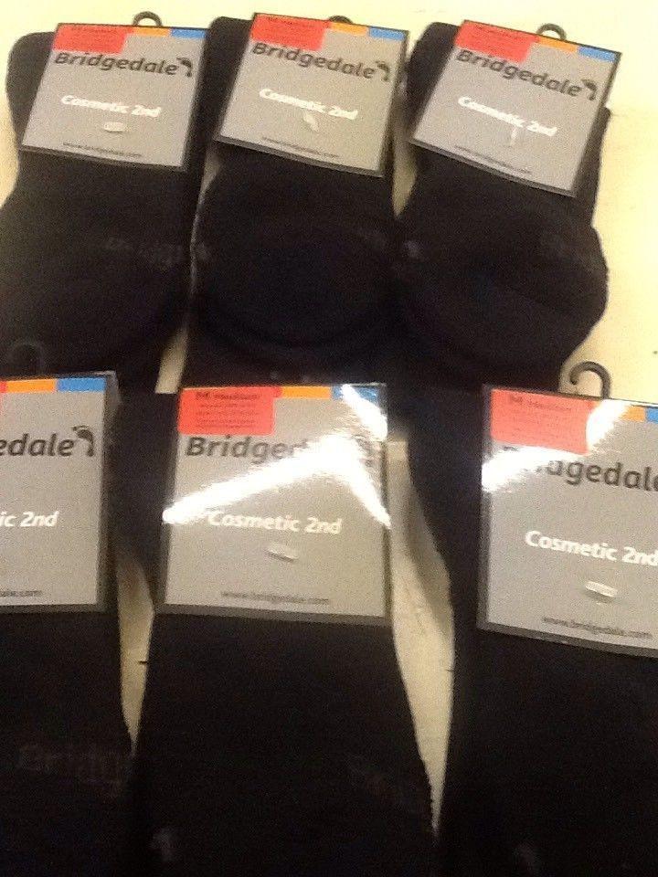 BRIDGEDALE MEN'S HIKE ENDURANCE LW SOCKS BLACK X 6 PAIRS MEDIUM 6-8.5