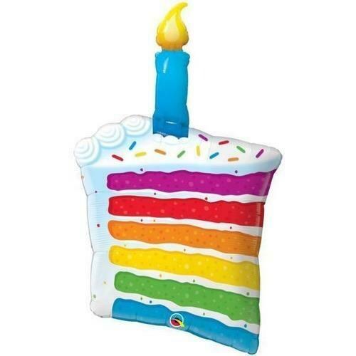 Rainbow Cake Birthday Slice