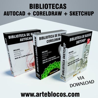 MEGA COMBO: Biblioteca de blocos para Autocad, Coreldraw e Sketchup