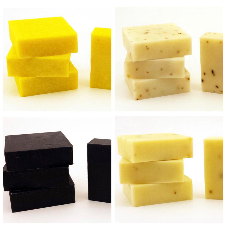 Soap Variety Pack Lemongrass, Turmeric Lemon, Black Soap, Tea Tree Mint