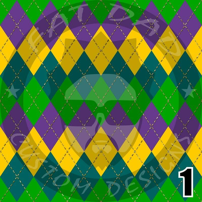 Mardi Gras Theme Printed Heat Transfer Vinyl (HTV)