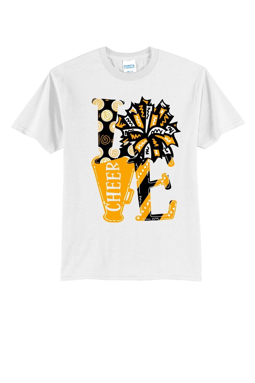 LOVE Cheer Design - T-shirt, Long Sleeve, or Hoodie