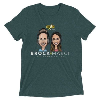 Short Sleeve T-Shirt of Brock and Marci's Caricature
