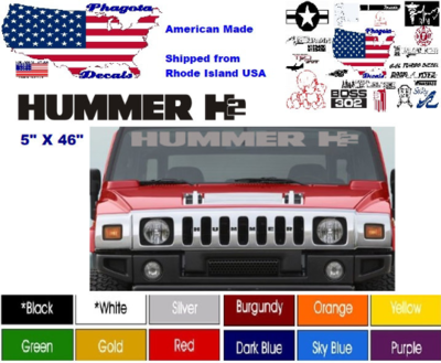 """Fits Hummer H2 Windshield Vinyl Graphic Stickers 5"""" X 46"""" Pick Color Free Ship!"""