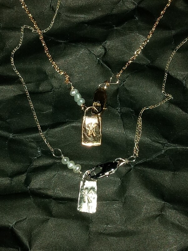 PEARL ID NECKLACE (CUSTOM LETTER TAG)