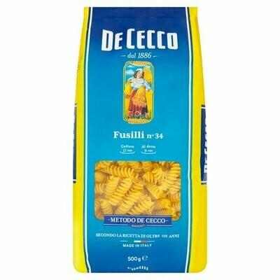 500g DE CECCO FUSILLI PASTA No.34